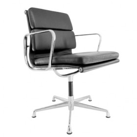 Eames Style Soft Pad Office Chair - Low Back with Armrest Full Italian A+ Leather
