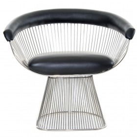 Platner Style Dining Chair Full Waxy Leather
