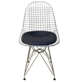 Wire Chair with leather Seating Pad