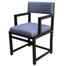 Alpha Chair with Wooden Armrest Belgium Fabric