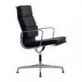 Eames Style Soft Pad Office Chair - High Back with Armrest Full Italian A+ Leather