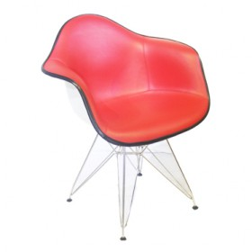Eames Style DAR Rod Base Leather Armchair-Full Waxy Leathe
