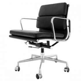 Eames Style Soft Pad Office Chair - Low Back Full Options Full Italian A+ Leather