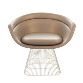 Platner Style Dining Lounge Chair-Full Waxy Leather