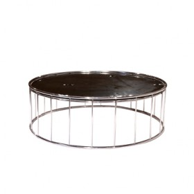 Low Black Tempered Glass Coffee Table