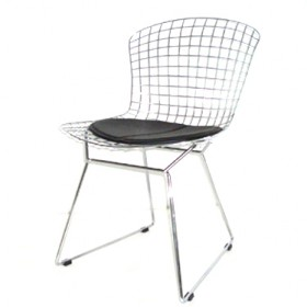 Bertoia Style Side Chair Full Italian A+ Leather